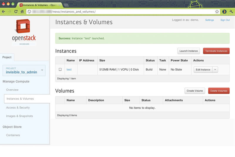 openstack instances volumes
